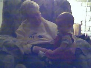 My stepmom, Vera, with my grandson when he was a little guy.